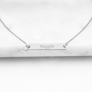 Personalized Bar Necklace with Heart Charm image
