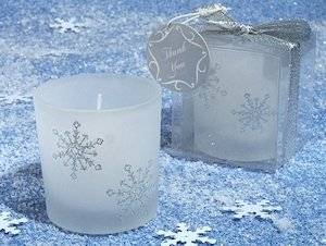 Silver Glitter Snowflakes Candle Favors image