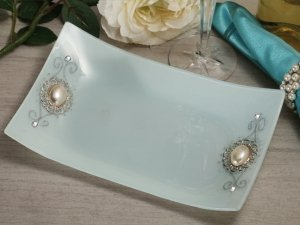 Pearl Accented Rectangular Glass Tray Favors image