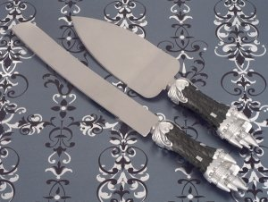 Platinum Castle Collection Cake and Knife Set image