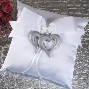 Two Hearts Beat as One Ring Pillow image