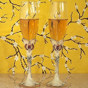 Lucky in Love Western Wedding Toasting Flutes image