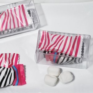 Pink Zebra Design Mint Candy Favors in Gift Box image