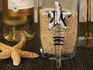 Starfish Silver and Black Glass Bottle Stopper Favors image
