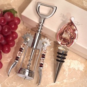 Murano Teardrop Mauve and Gold Wine Stopper & Opener Set image