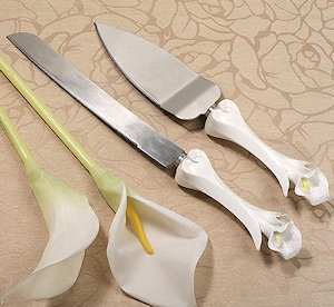 Calla Lilies Wedding Serving Set for Cake image