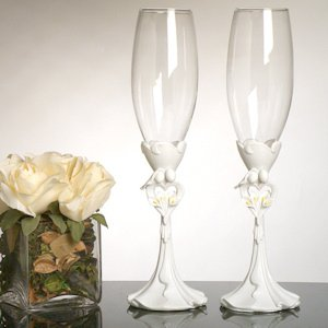 Calla Lily Bouquet Toasting Flutes image