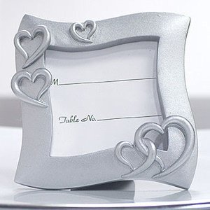 Square Silver Hearts Place Card Frame image