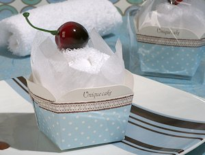 Cherry Topped Blue and White Cupcake Towel Favor image
