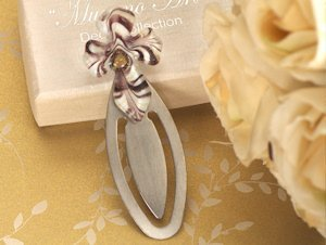 Gold and Brown Art Deco Cross Bookmark Favors image