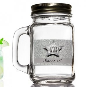 Silver Sweet 16 Design Mason Jar Favor image