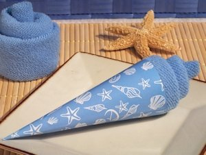 Blue Seashell Designed Ice Cream Towel Favor image