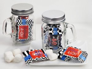 40th Birthday Mint Candy Favors with Mason Jar image