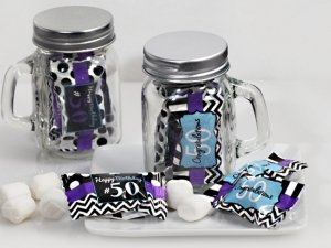 50th Birthday Mint Candy Favors with Mason Jar image