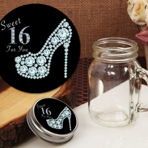 Dazzling Shoe Sweet 16 Design Vintage Mini Mason Jar Favor image