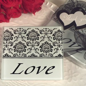 Lovely Damask and Love Glass Coasters image