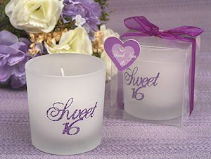 Purple Glitter Sweet Sixteen Candle Party Favors image