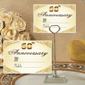 50th Anniversary Place Card with Metal Holder image