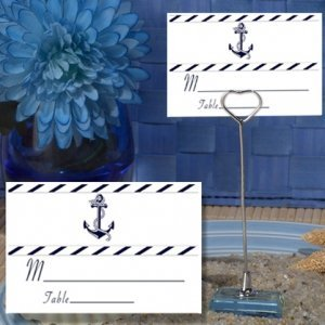 Nautical Design Place Card with Metal Place Card Holder image