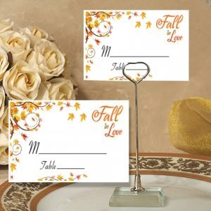 Fall in Love Autumn Place Card with Metal Holder image