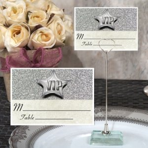 Silver Sparkle VIP Place Card with Metal Holder image