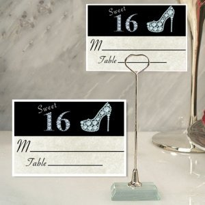 Stylish Sweet 16 Place Card with Metal Holder image