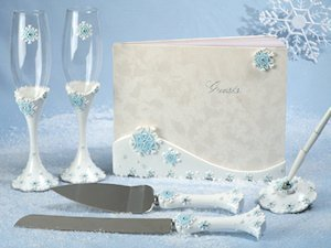 Blue Snowflake Wedding Accessories Set image