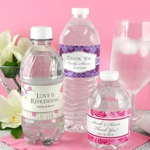 Personalized Wedding Water Bottle Labels (Set of 5) image