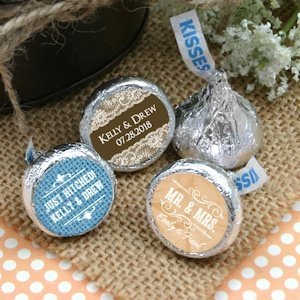 Personalized Rustic Design Hershey Kisses Favors image