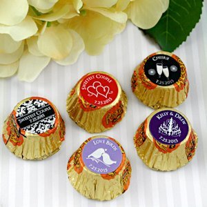 Personalized Chocolate Peanut Butter Cup Wedding Favors image