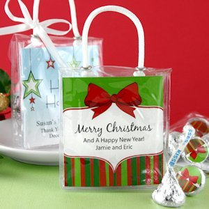 Personalized Holiday Hershey Kiss Favor Totes image