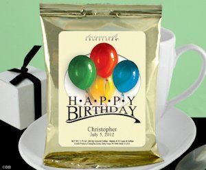 Personalized Birthday Coffee Favors - Gold (Many Designs) image