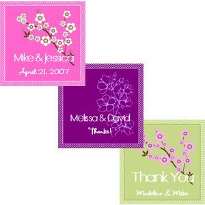 Square Cherry Blossom Bridal Tags and Labels (Sets of 20) image