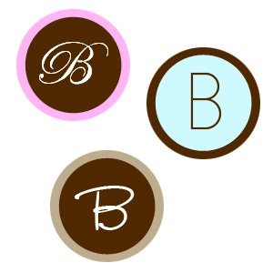Round Monogram Wedding Stickers for Favors (Set of 35) image