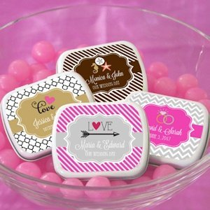 Personalized Wedding Favor Candy Tins image