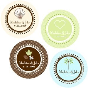 Round Personalized Wedding Labels for Favors (Set of 12) image