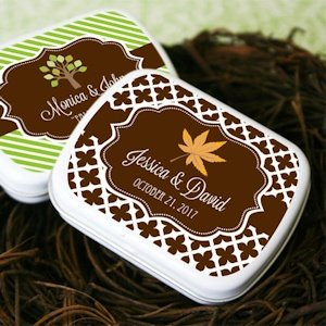 Personalized Candy Tin Autumn Wedding Favors image