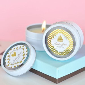 Personalized Metallic Foil Round Wedding Candle Tins image
