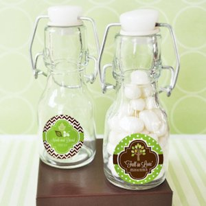 Personalized Fall for Love Mini Glass Bottle Favors image