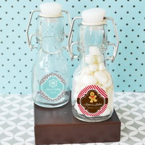 Winter Holiday Personalized Mini Glass Bottle Favors image