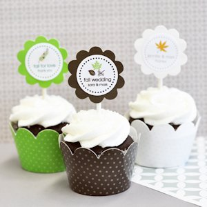 Fall Cupcake Wrappers & Cupcake Toppers (Set of 24) image