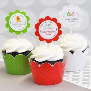 Winter Cupcake Wrappers & Cupcake Toppers (Set of 24) image