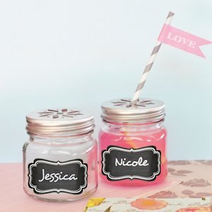 Mason Drinking Jar Favors with Vinyl Chalkboard Labels image