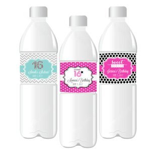 Sweet Sixteen (or 15) Water Bottle Labels image