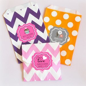 Personalized Chevron & Dots Wedding Goodie Bags (Set of 12) image
