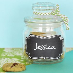 Mini Cookie Jar Favors with Vinyl Chalkboard Labels image