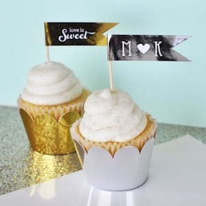 Metallic Gold & Silver Foil Cupcake Wrappers image