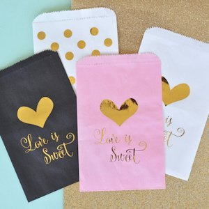 'Love is Sweet' Gold Foil Candy Buffet Bags (Set of 12) image