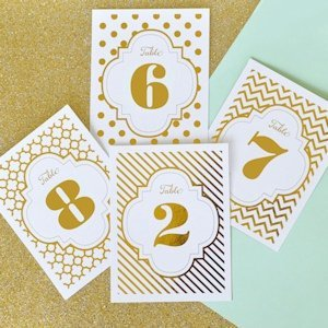 Gold or Silver Foil Table Numbers (4 Patterns) image