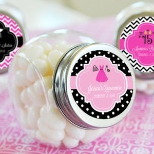 Personalized Quinceanera Party Favor Candy Jars image